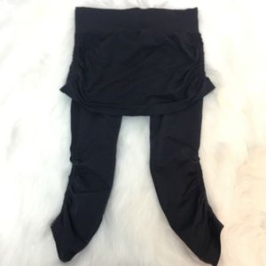 Athleta leggings with skirt ruched gray